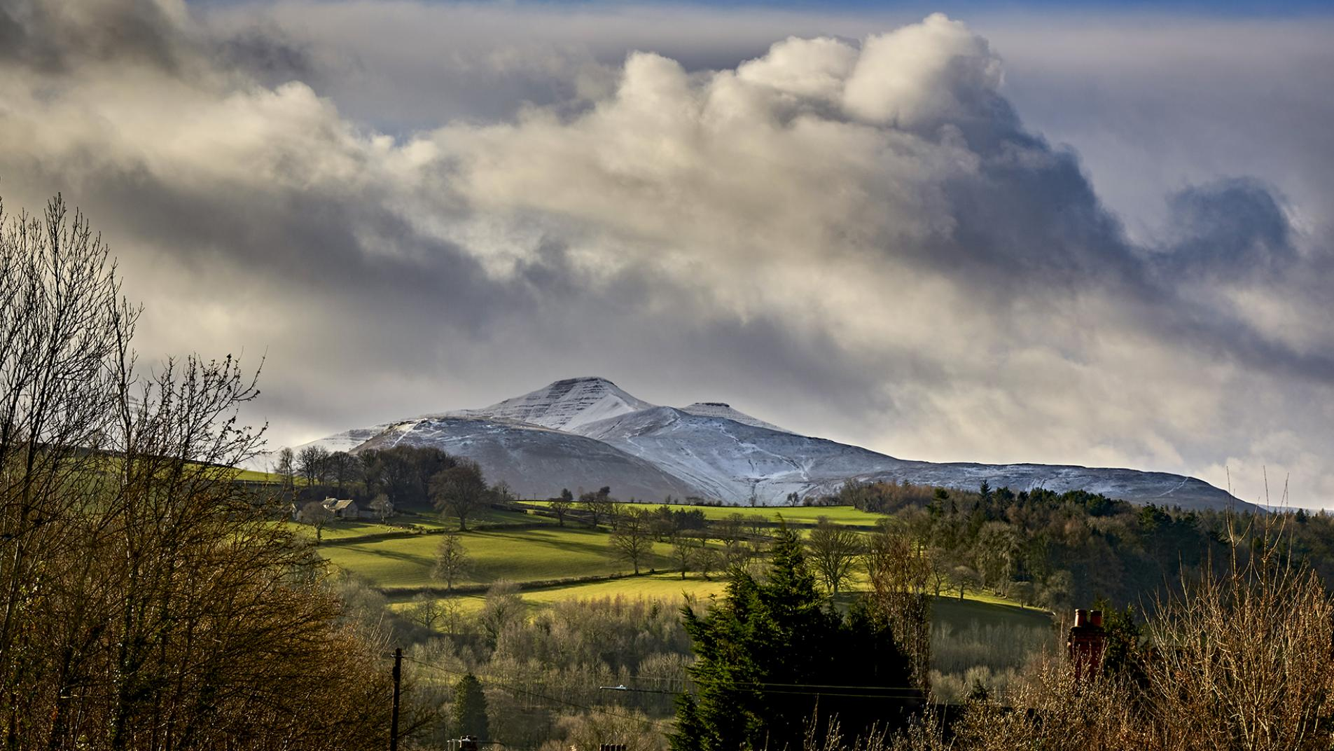 A view of snow covered Brecon Beacons