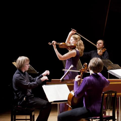 Brecknock Sinfonia, i the foreground is a man playing a harpsichord, a female cellist has her back towards the camera. In the background are four violinists, violins on their shoulders and bow held in the air