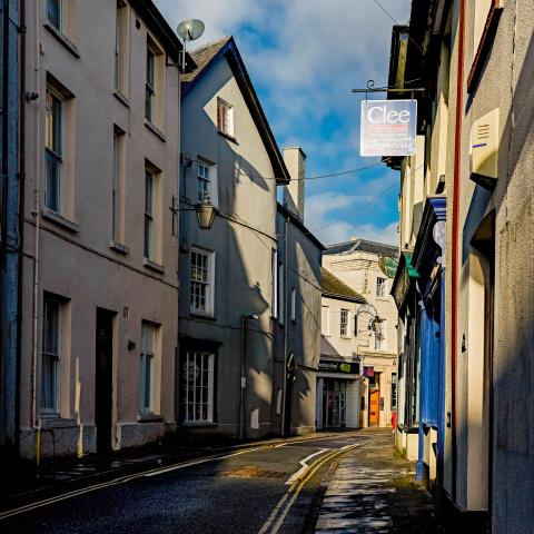 Street in Brecon in the sunshine